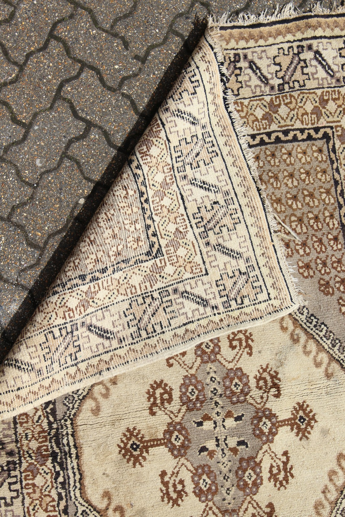 A PERSIAN RUG brown and cream with large medallions. 6ft 6ins long x 4ft 6ins wide - Image 2 of 2
