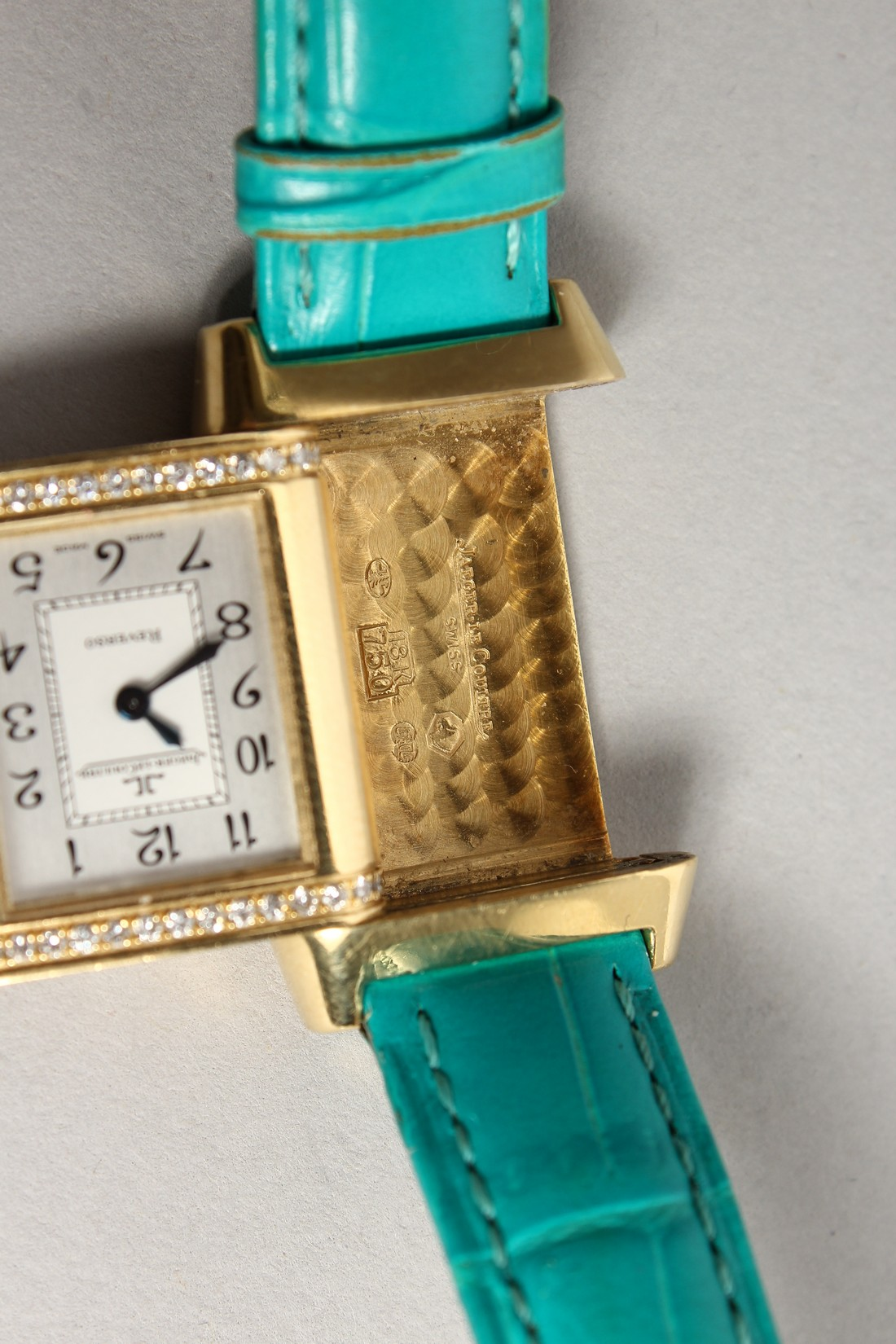 A VERY GOOD 18CT. GOLD AND DIAMOND JAGEUR LE COUTRE REVERSE WRISTWATCH, with a leather strap. - Image 5 of 8
