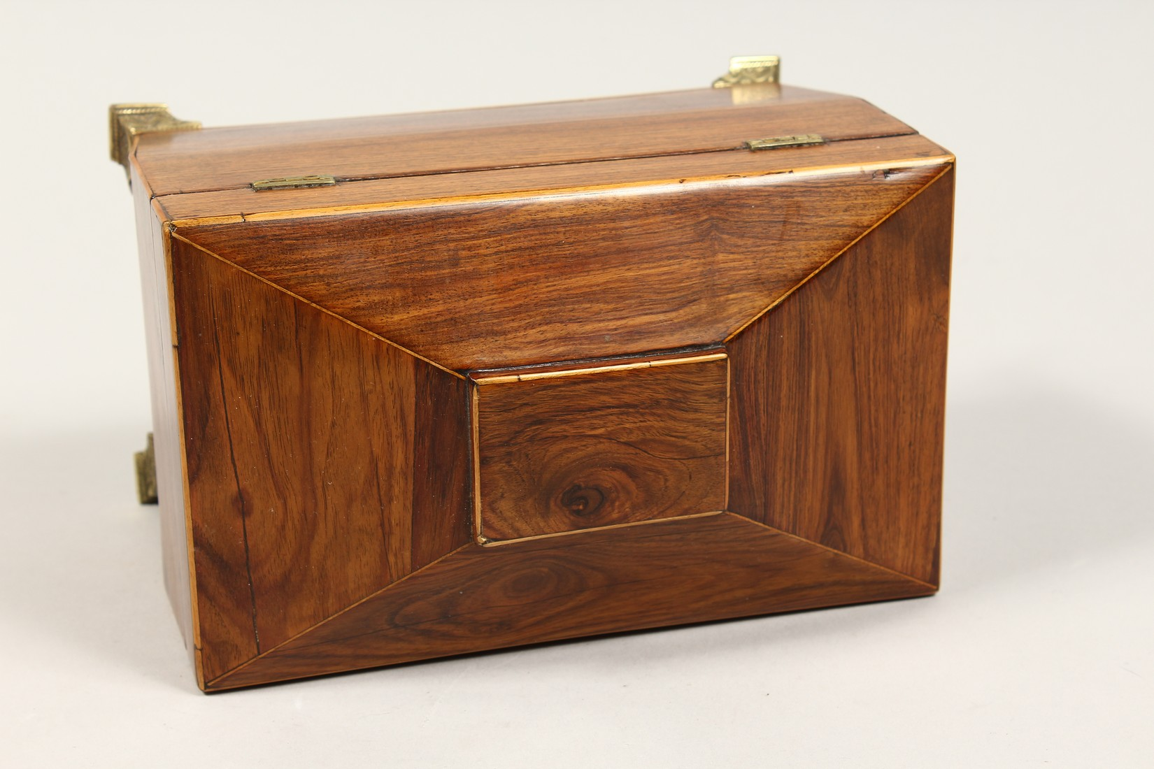 A REGENCY ROSEWOOD DOMED TOP TWO DIVISION TEA CADDY with iron escutcheon on brass bracket feet. 7. - Image 5 of 7