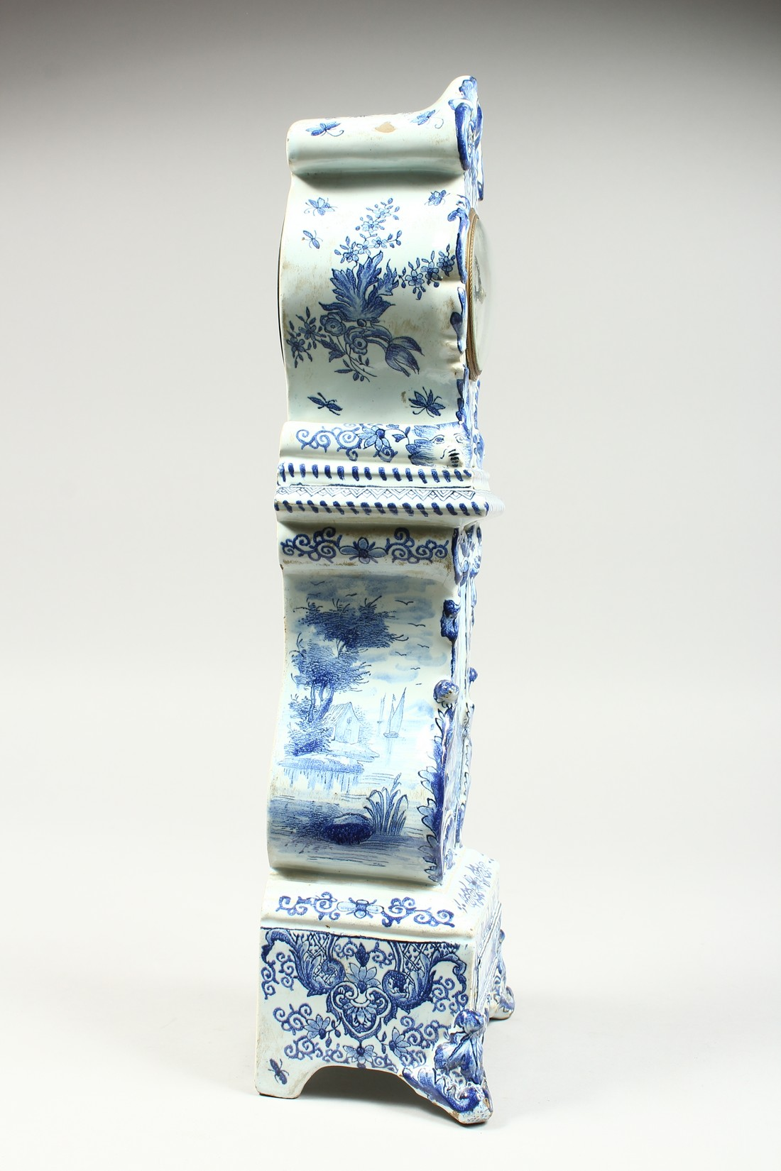 A 19TH CENTURY DUTCH BLUE AND WHITE MINIATURE PORCELAIN LONGCASE CLOCK, the movement by Charles - Image 5 of 8