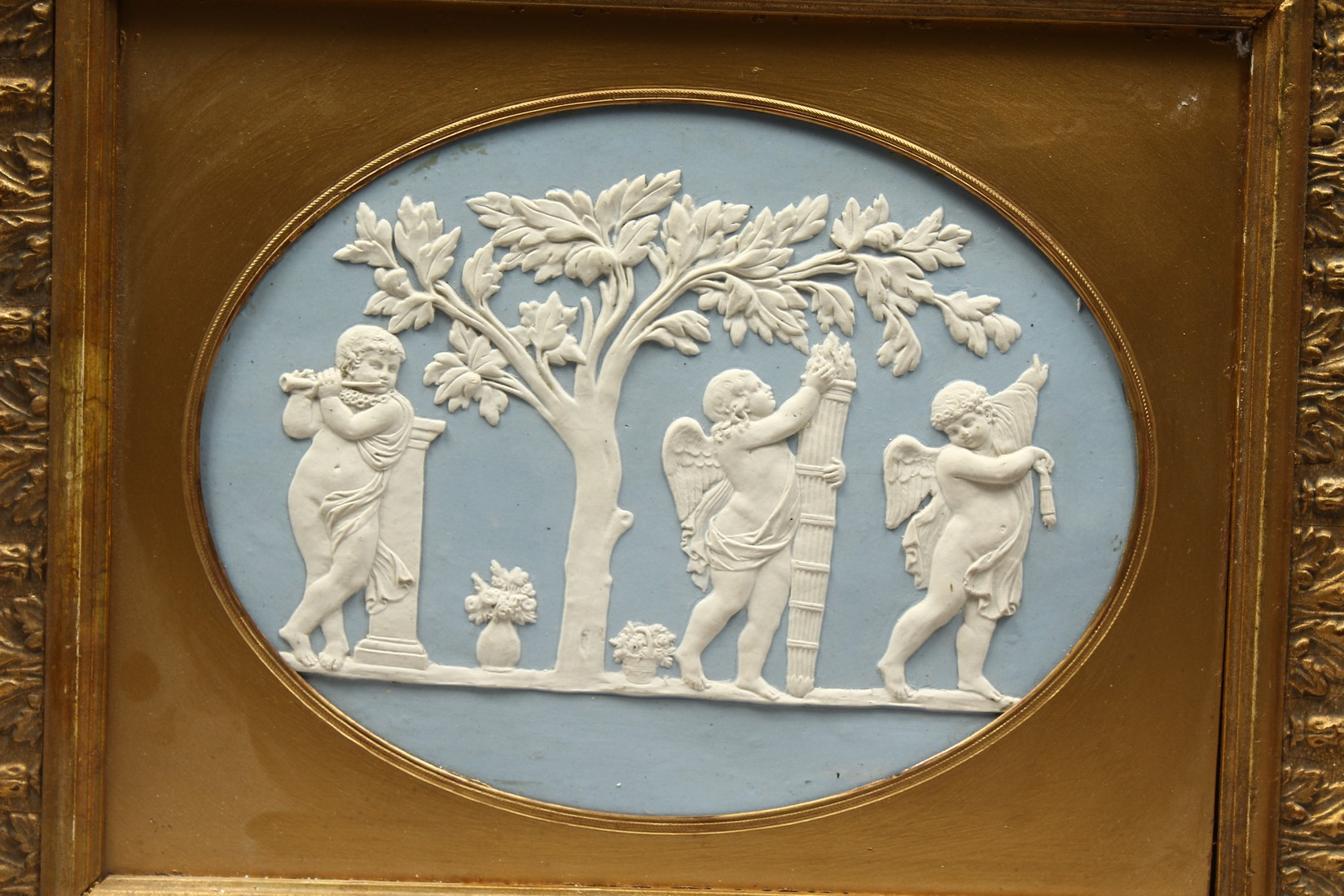 A WEDGWOOD BLUE AND WHITE GILT FRAMED PORCELAIN PLAQUE with cupids 6ins and 8ins. - Image 2 of 3