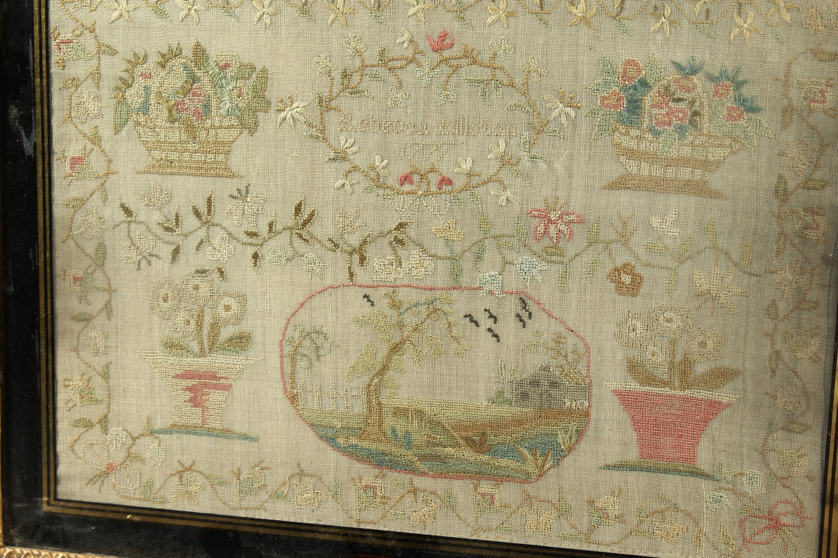 A GEORGE III FRAMED AND GLAZED SAMPLER by Roberta Allerton, 1787, with a poem, birds, flowers etc. - Image 4 of 7