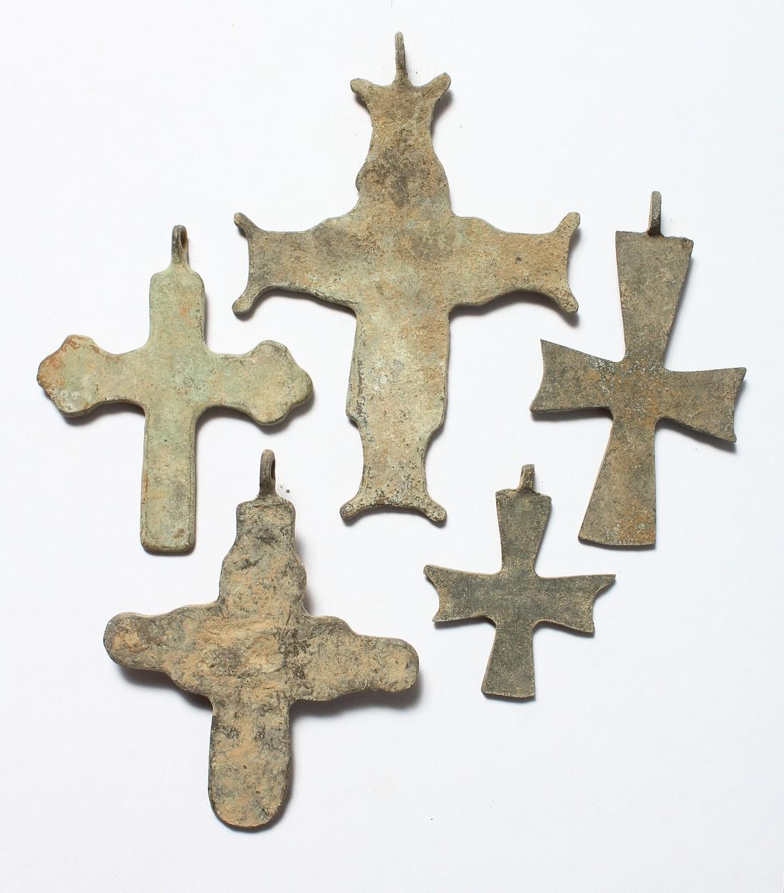 FIVE MEDIUM METAL ROMAN CROSSES. 3ins long - Image 3 of 3