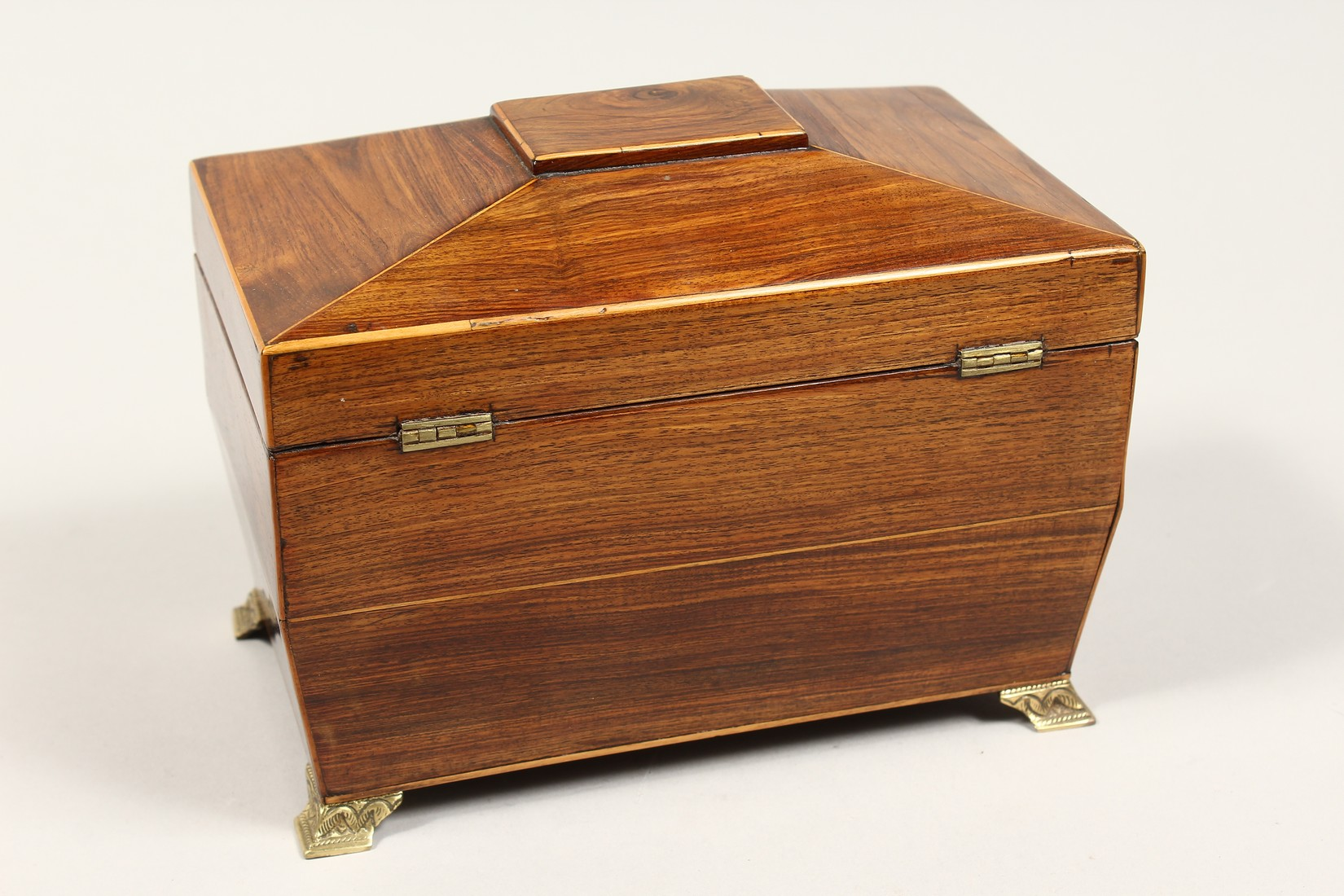 A REGENCY ROSEWOOD DOMED TOP TWO DIVISION TEA CADDY with iron escutcheon on brass bracket feet. 7. - Image 3 of 7