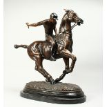 A LARGE, IMPOSING BRONZE OF A POLO PLAYER ON A HORSE, Signed, 'Joe', on a marble base. Bronze