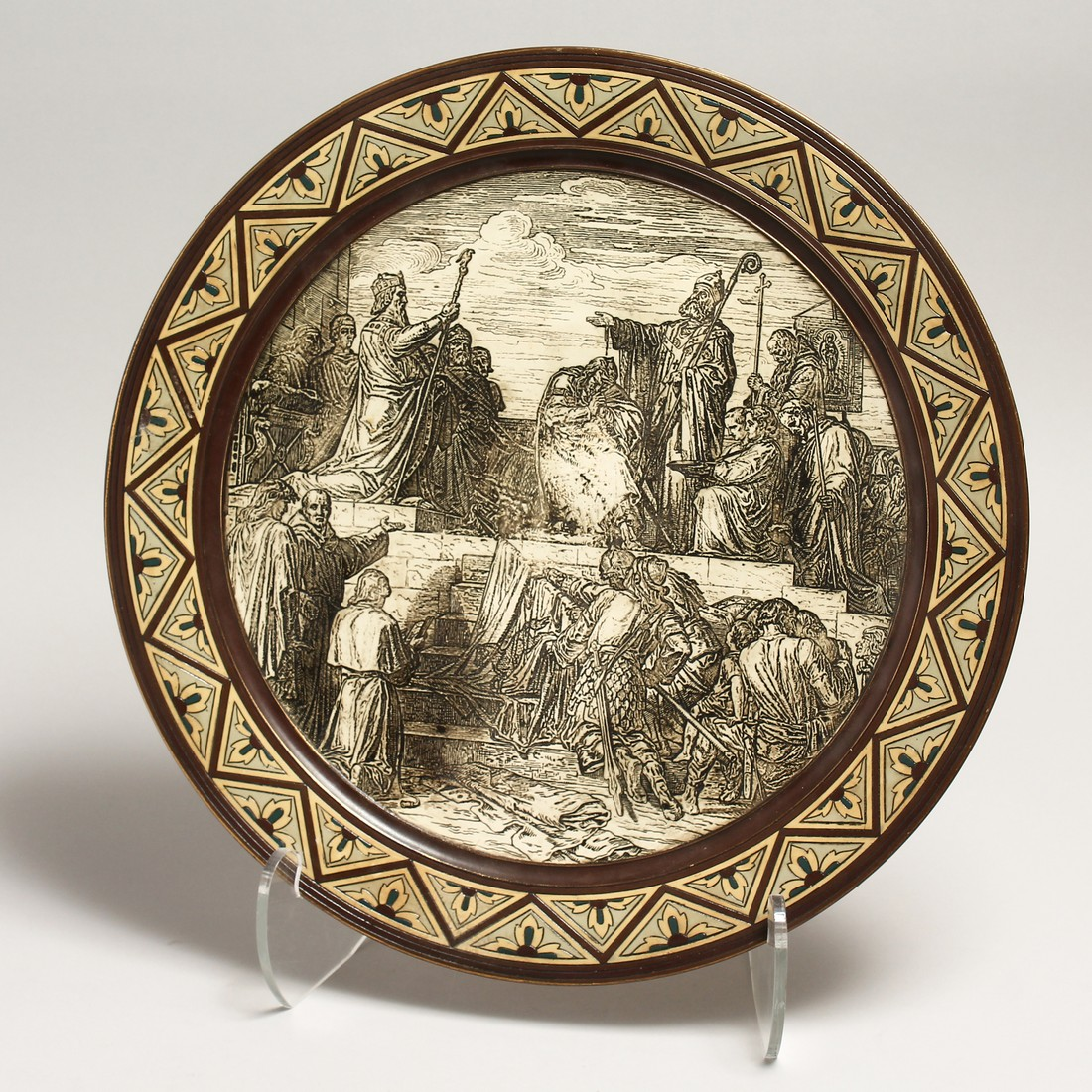 A GOOD METTLACH POTTERY CHARGER. NO. 1048 15.5ins diameter.