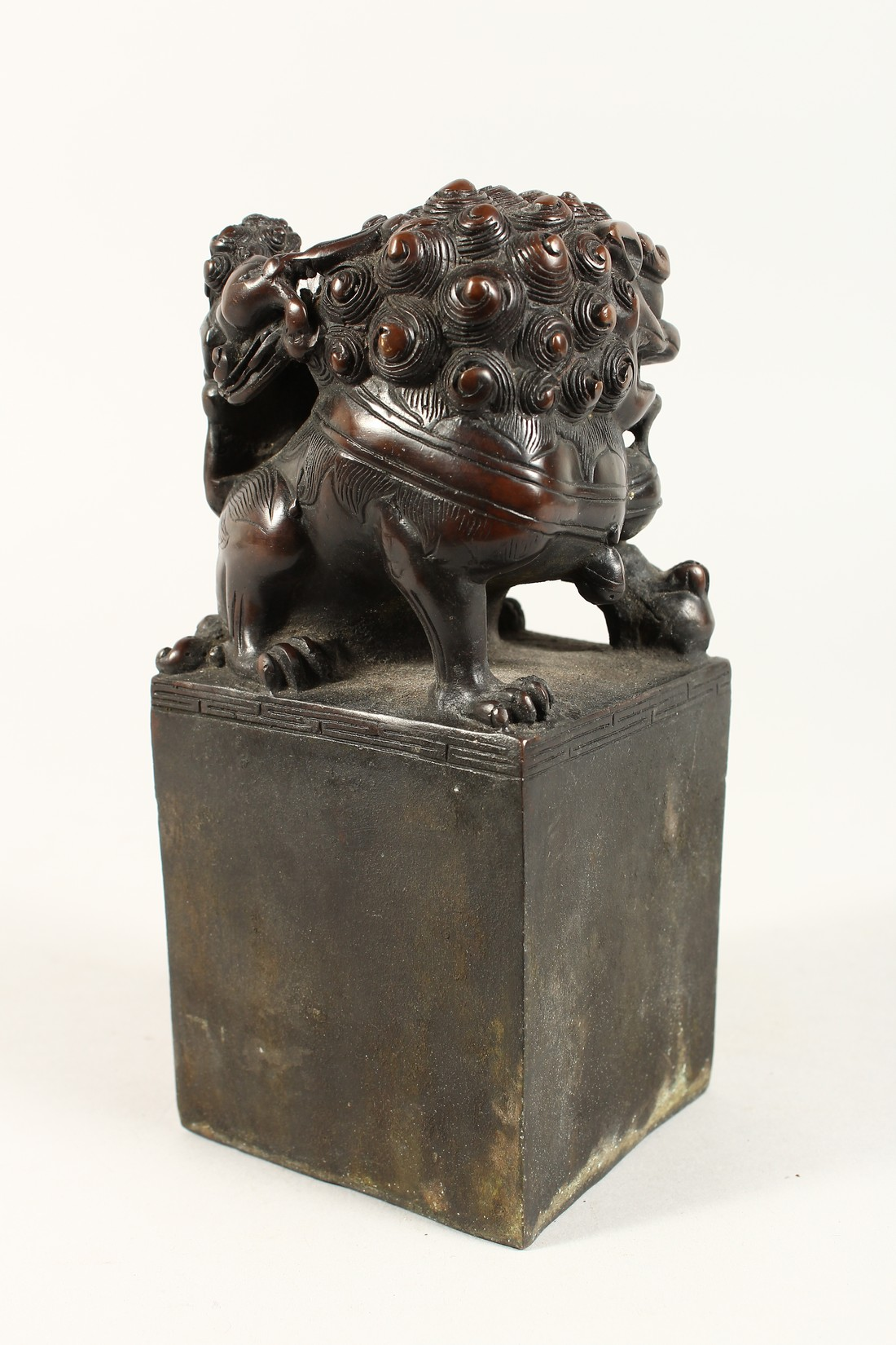 A CHINESE BRONZE DOG OF FO SQUARE SEAL 7.5ins high. - Image 3 of 5