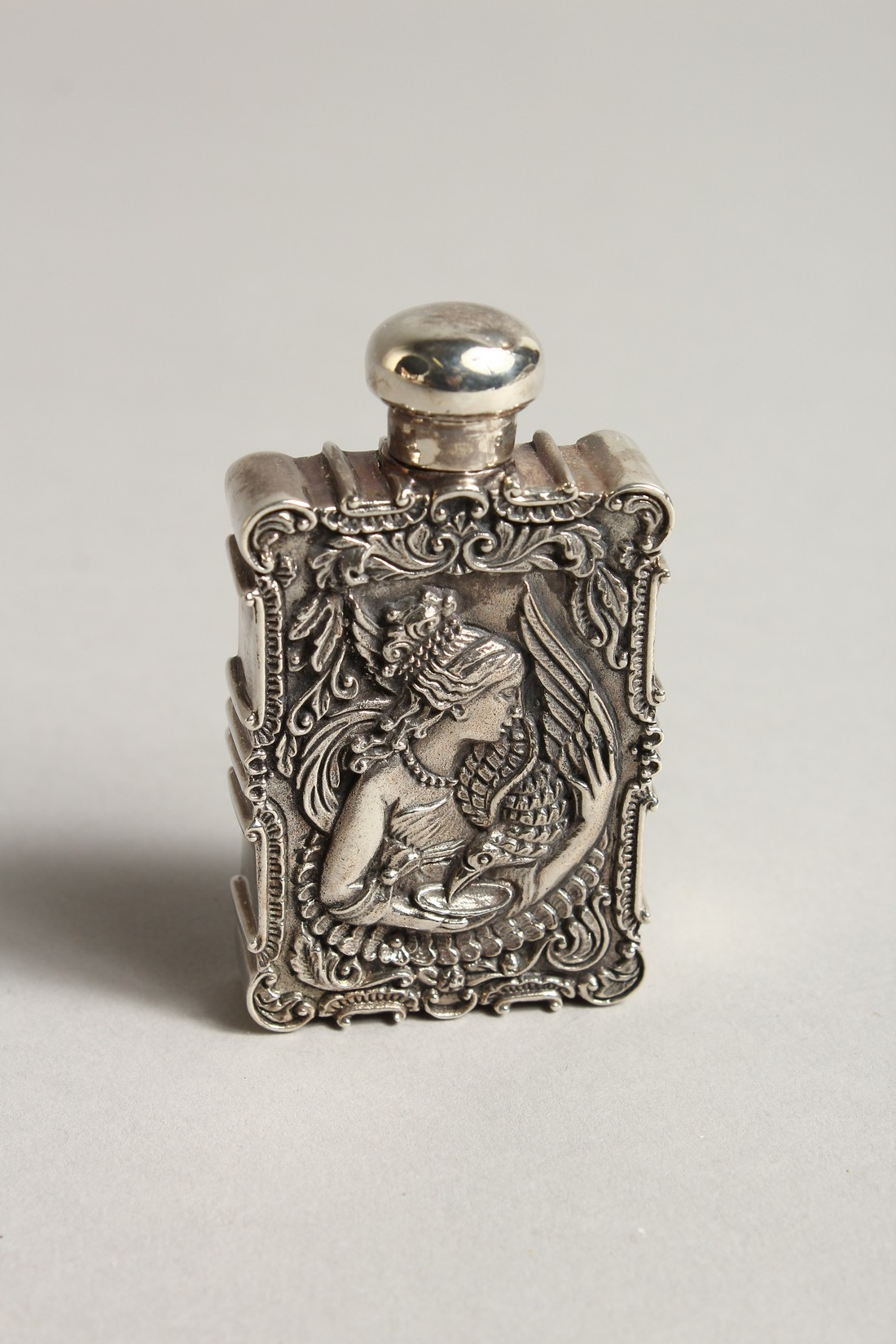 A ST. ANDREWS SOLID SILVER AND ENAMEL LEDA AND SWAN PERFUME PERFUME BOTTLE 2.5ins long - Image 2 of 2