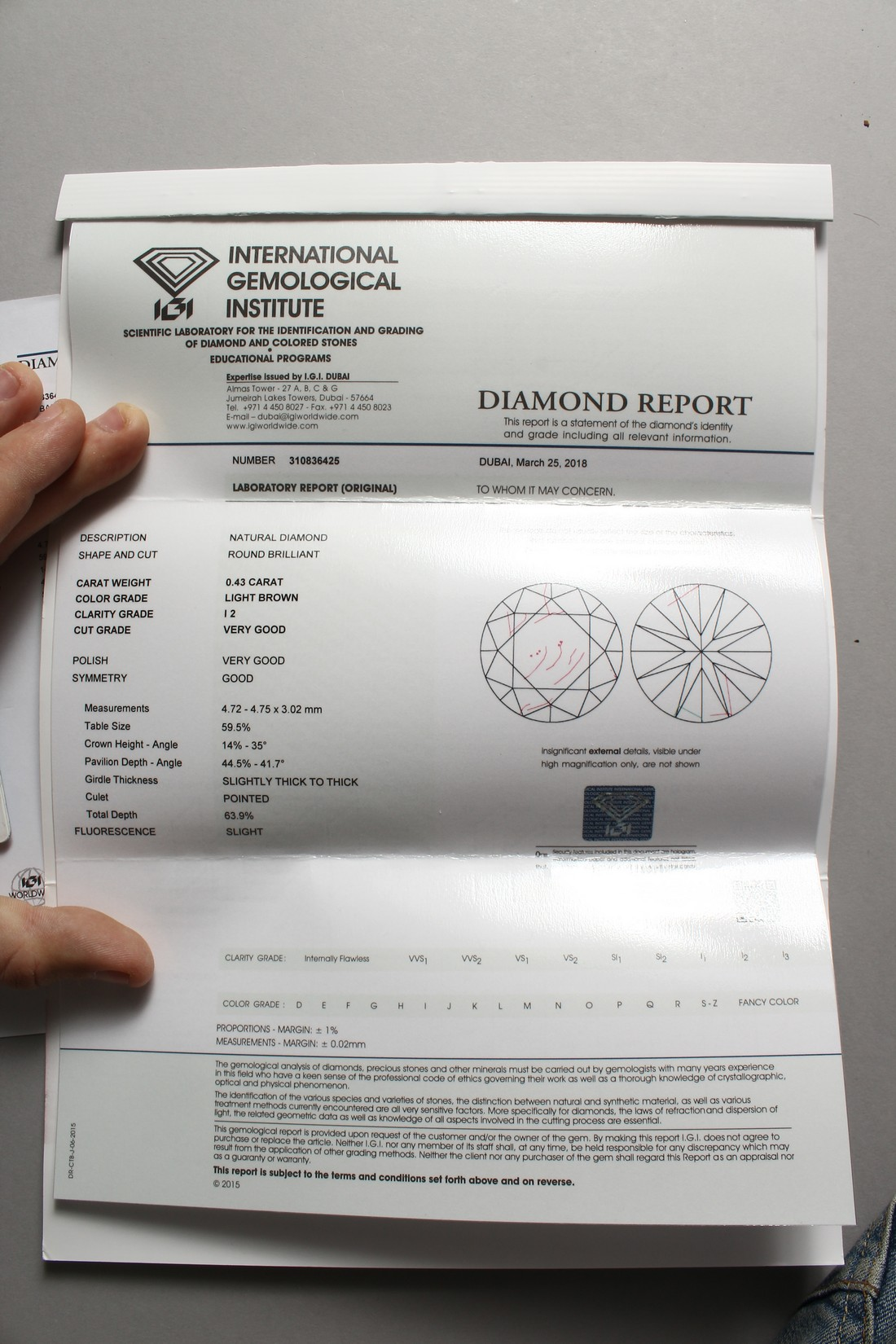 A 0.43 CARAT DIAMOND with certificate - Image 3 of 7