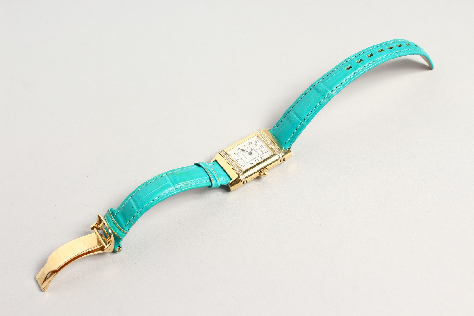 A VERY GOOD 18CT. GOLD AND DIAMOND JAGEUR LE COUTRE REVERSE WRISTWATCH, with a leather strap. - Image 2 of 8