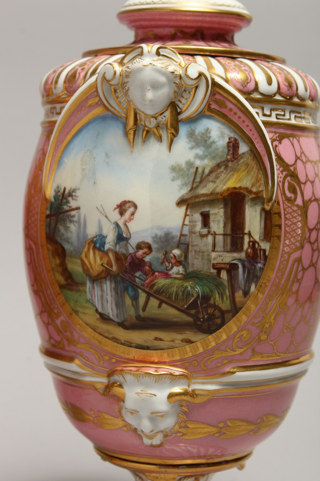 A VERY GOOD PAIR OF SEVRES PINK GROUND VASES AND COVERS each painted with reverse panels of figures, - Image 3 of 12