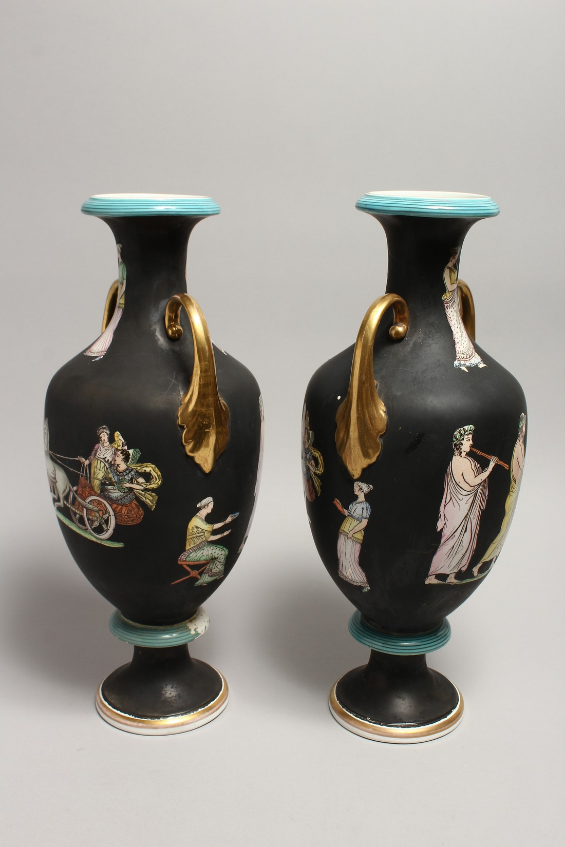 A PAIR OF CLASSICAL TWO HANDLED VASES with Greek figures 16ins high. - Image 3 of 7