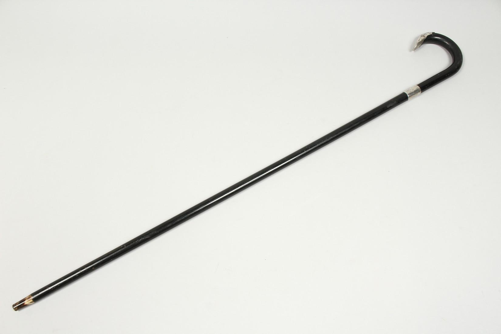 AN EBONY SILVER MOUNTED WALKING STICK, LONDON 1933. 36ins long. - Image 10 of 10