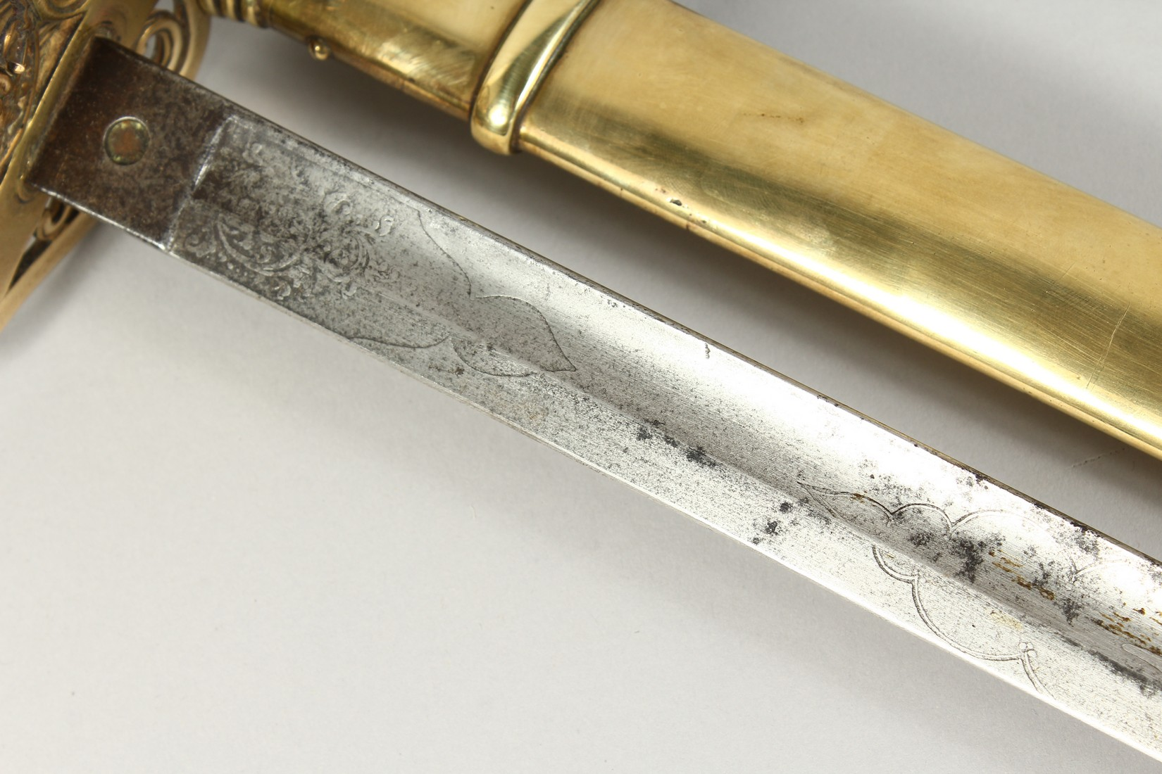 A GOOD VICTORIAN NAVAL SWORD with shagreen handle and engraved blade, V R & Crown inc., brown - Image 13 of 25