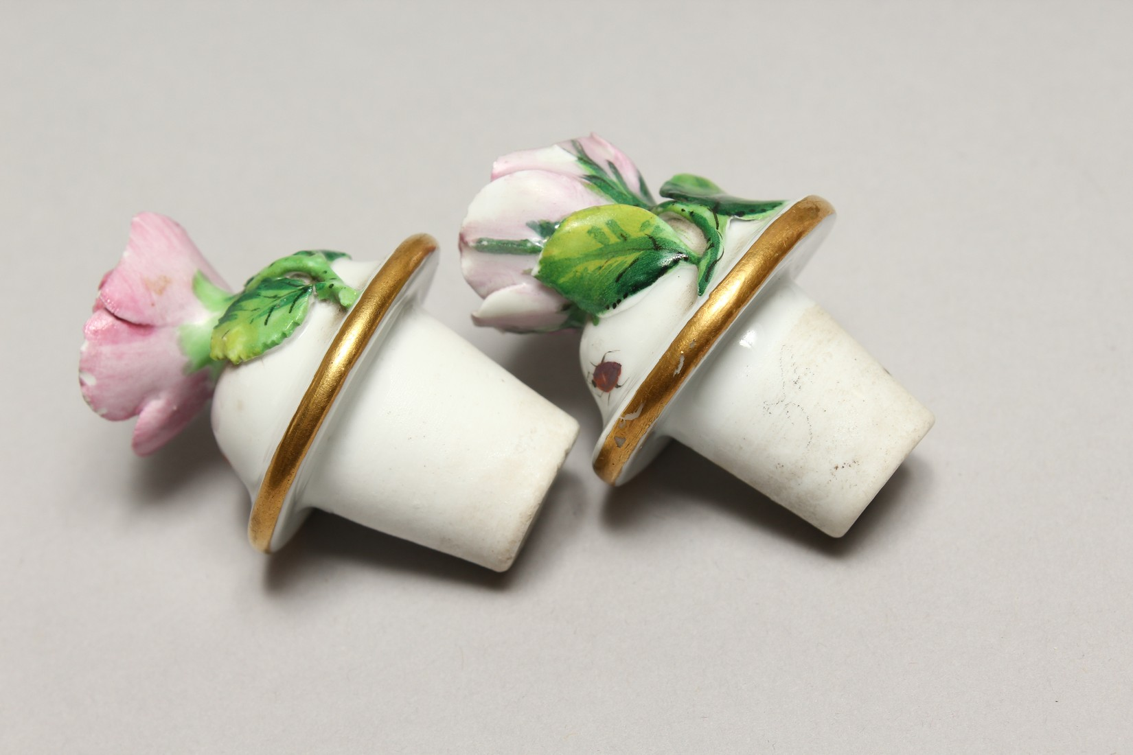 A GOOD PAIR OF MEISSEN FLOWER AND FRUIT ENCRUSTED VASES AND COVERS. Cross swords mark in blue. 10. - Image 6 of 8