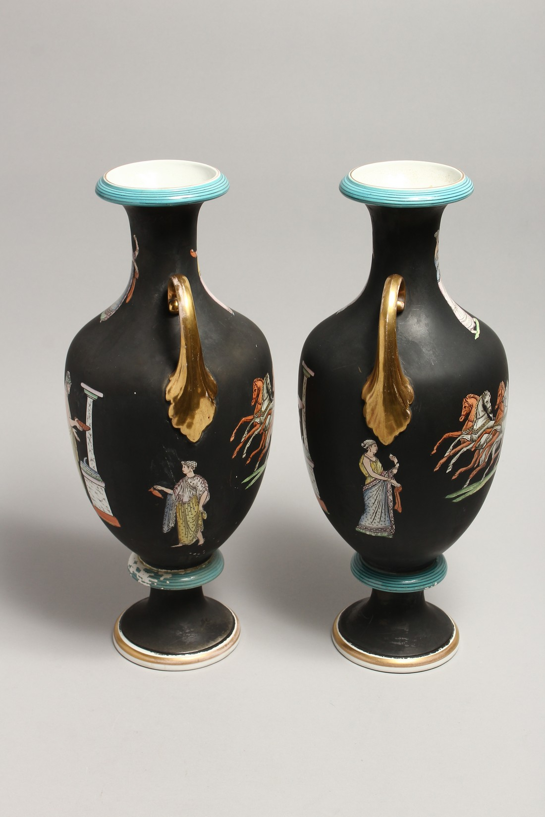 A PAIR OF CLASSICAL TWO HANDLED VASES with Greek figures 16ins high. - Image 5 of 7