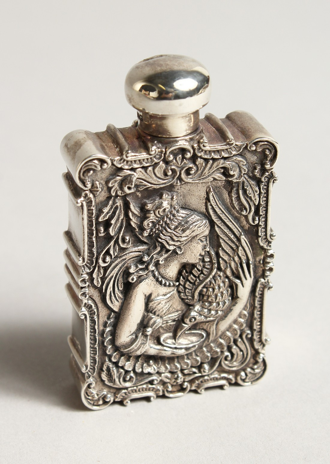 A ST. ANDREWS SOLID SILVER AND ENAMEL LEDA AND SWAN PERFUME PERFUME BOTTLE 2.5ins long