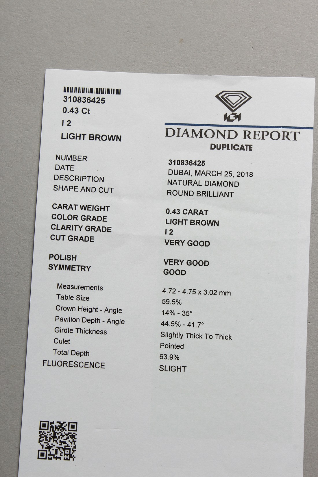 A 0.43 CARAT DIAMOND with certificate - Image 2 of 7