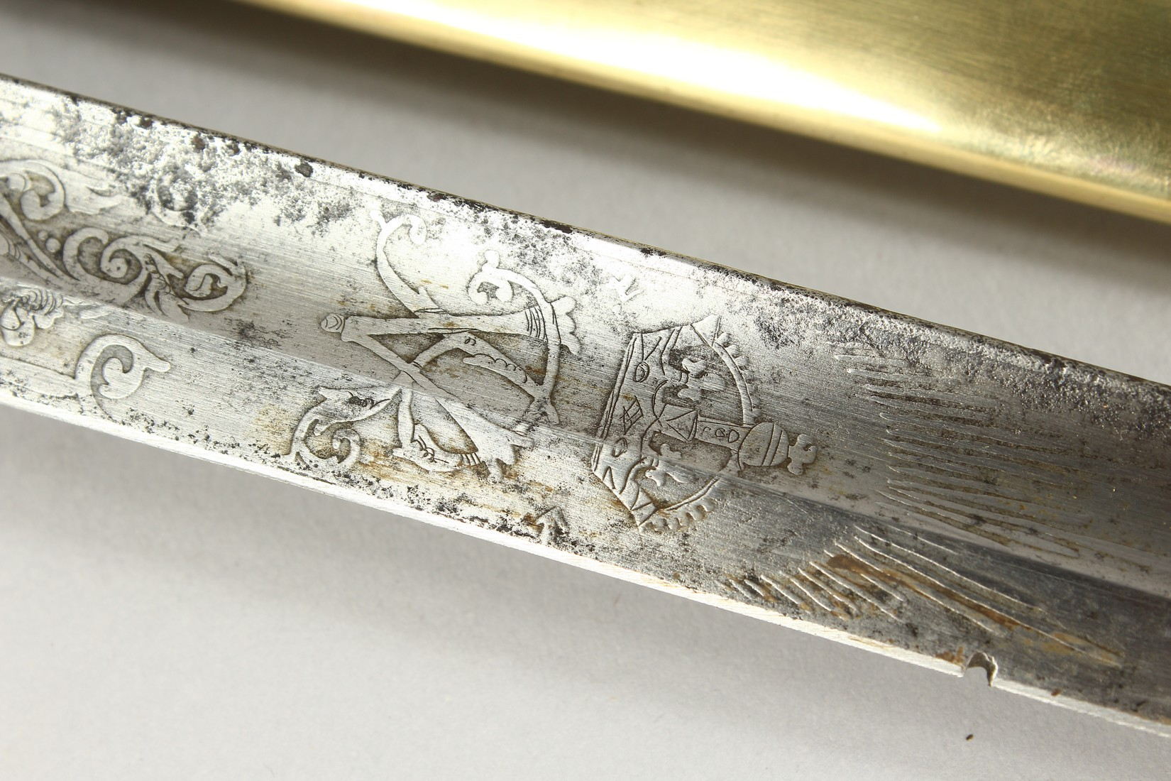 A GOOD VICTORIAN NAVAL SWORD with shagreen handle and engraved blade, V R & Crown inc., brown - Image 17 of 25