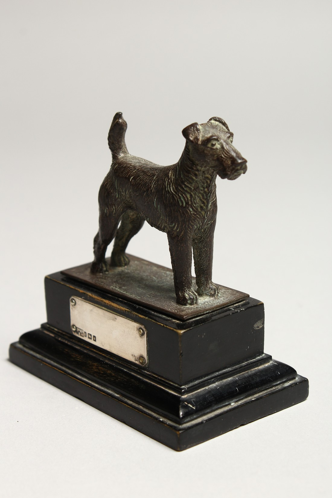 A FOX TERRIER with silver tablet. 2.5ins long - Image 3 of 5