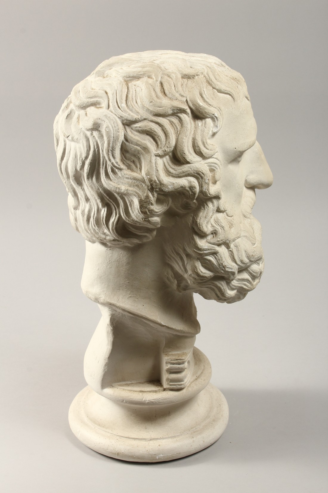 AN ANTIQUE PLASTER BUST 19ins high. - Image 5 of 5