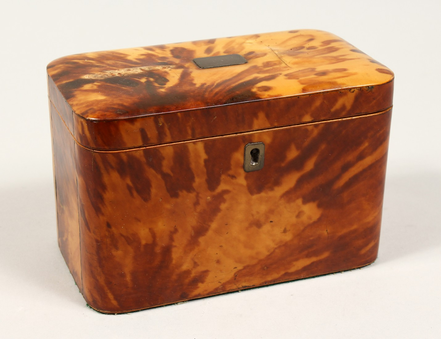 A GOOD REGENCY TORTOISESHELL TWO DIVISION TEA CADDY of rectangular form. 6.75ins high.