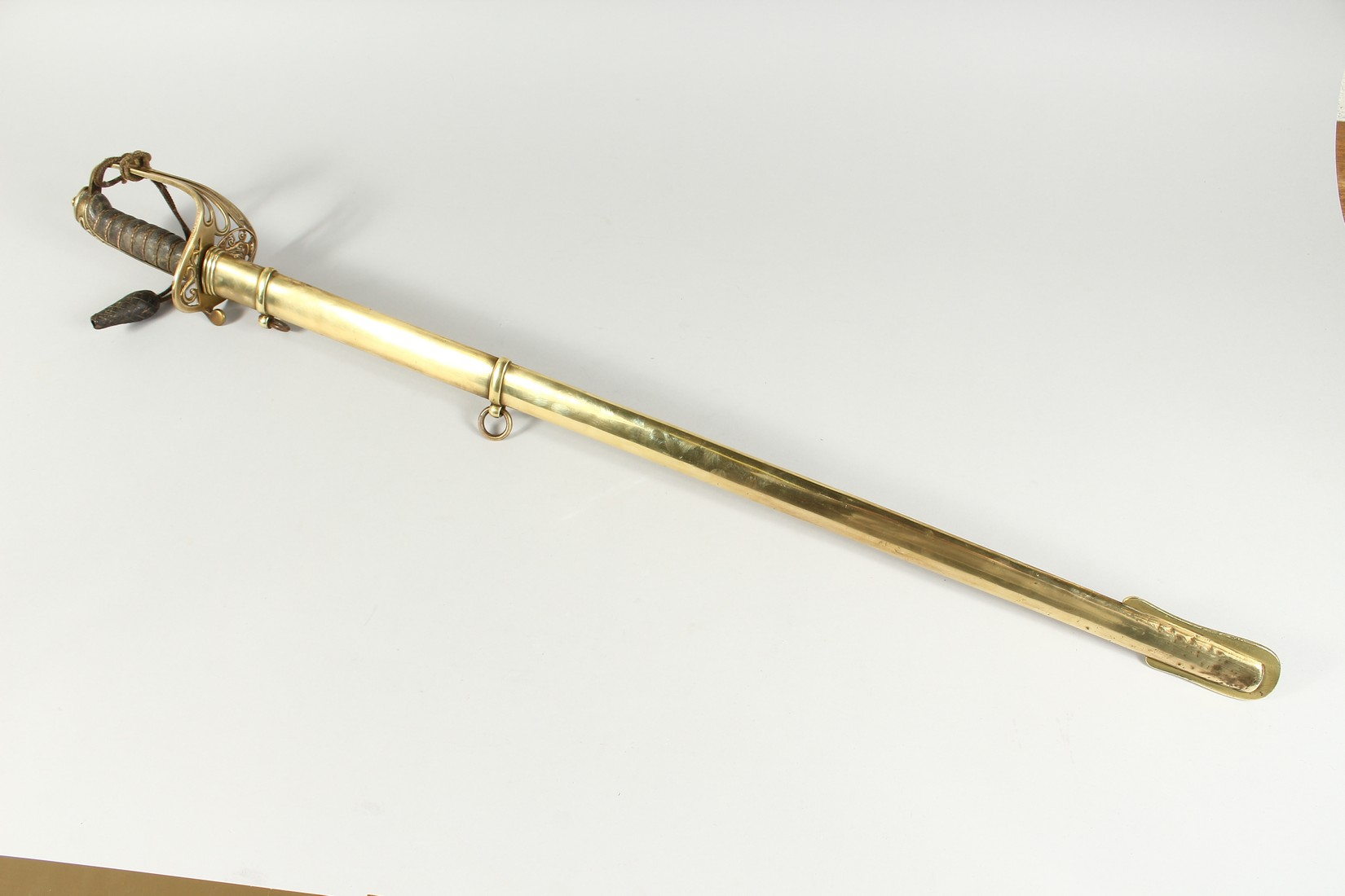 A GOOD VICTORIAN NAVAL SWORD with shagreen handle and engraved blade, V R & Crown inc., brown - Image 9 of 25
