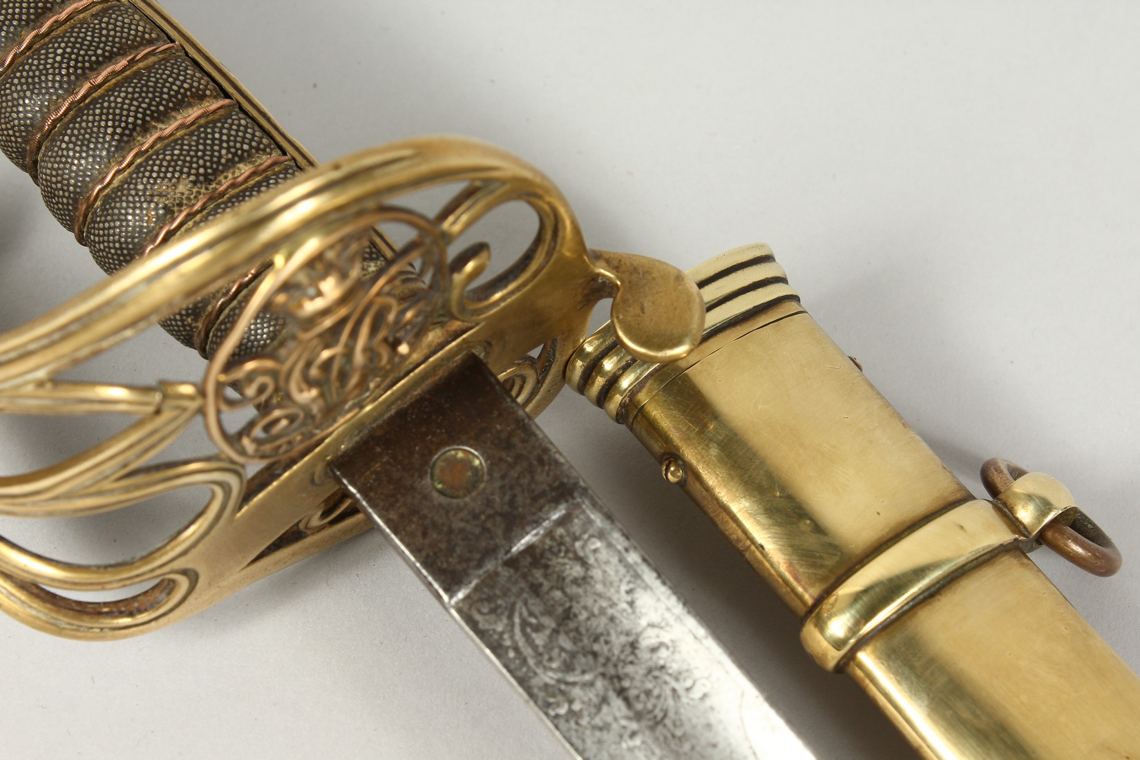 A GOOD VICTORIAN NAVAL SWORD with shagreen handle and engraved blade, V R & Crown inc., brown - Image 11 of 25