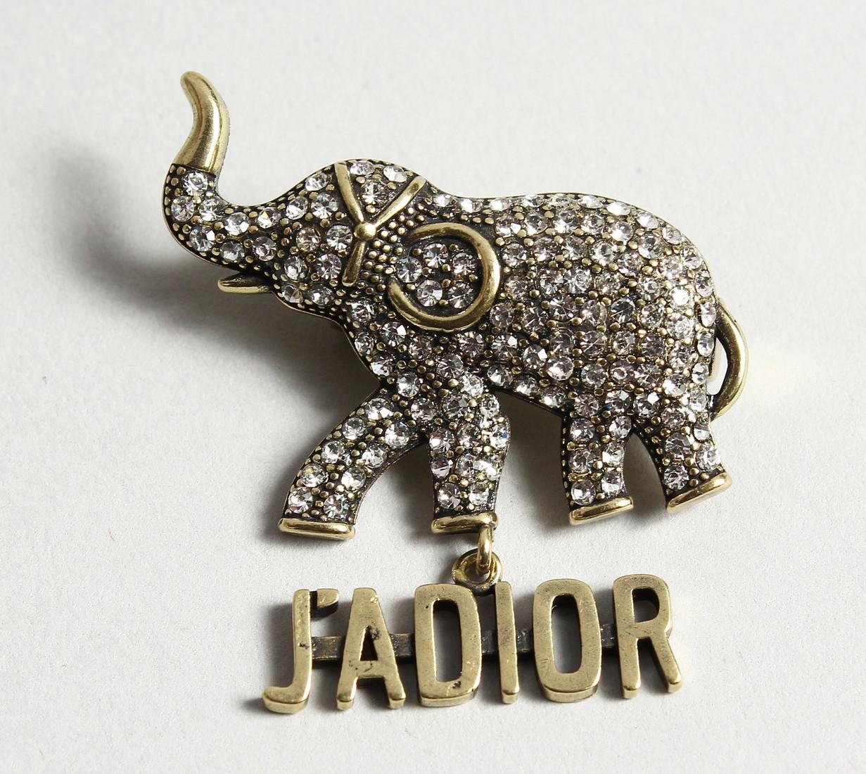 A DIOR JADIOR ELEPHANT BROOCH in a Dior bag and box.