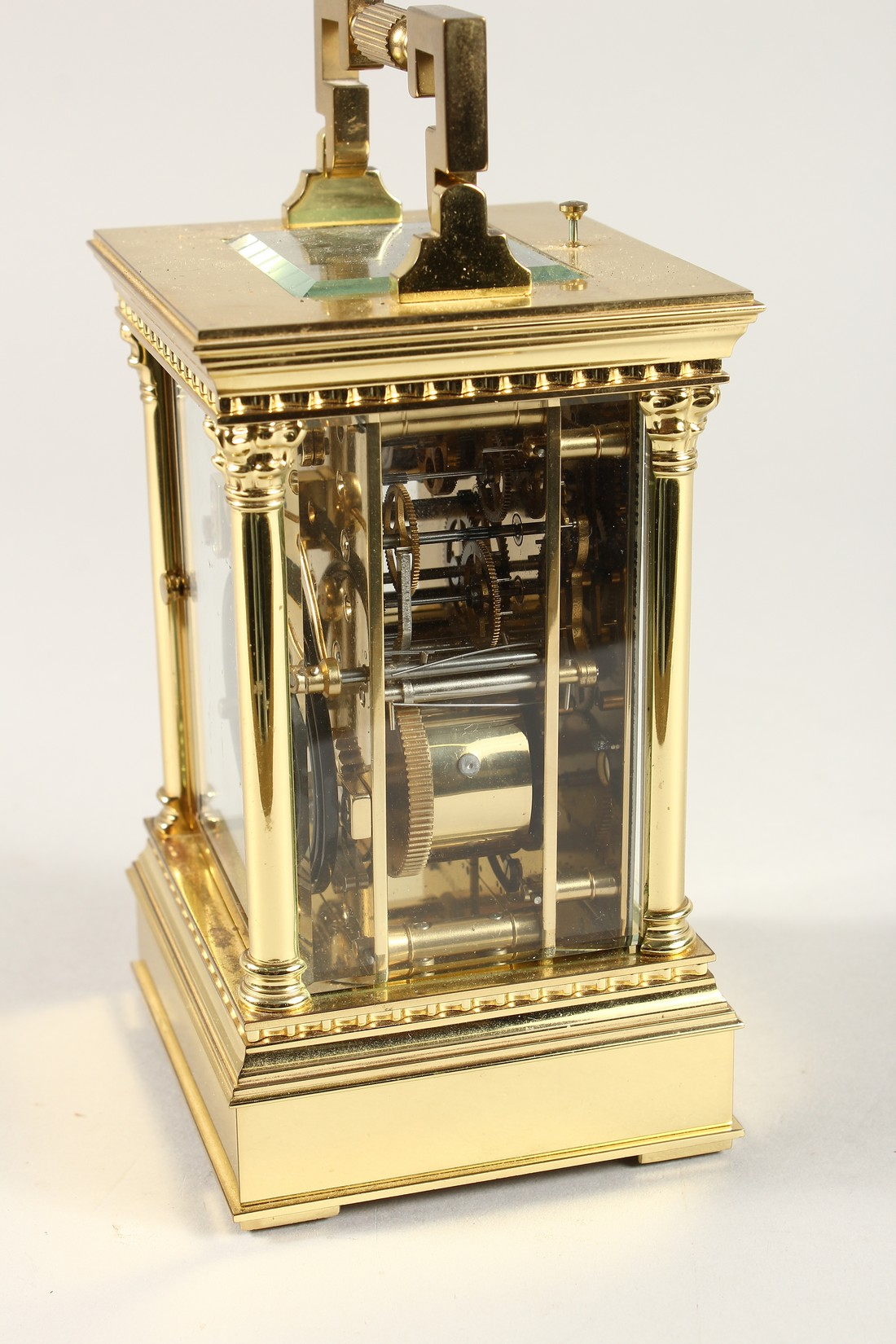 A GOOD ASPREYS BRASS CARRIAGE CLOCK with alarm. 6ins high. - Image 4 of 7