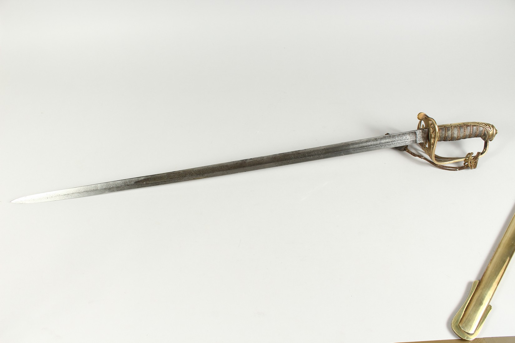 A GOOD VICTORIAN NAVAL SWORD with shagreen handle and engraved blade, V R & Crown inc., brown - Image 18 of 25