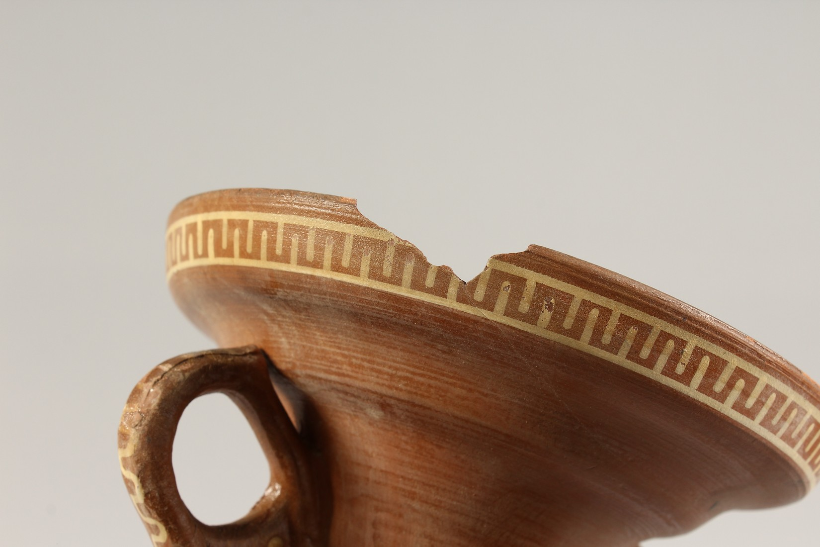A GRAND TOUR GREEK TWO HANDLED TERRA COTTA VASE 13ins high. - Image 3 of 4