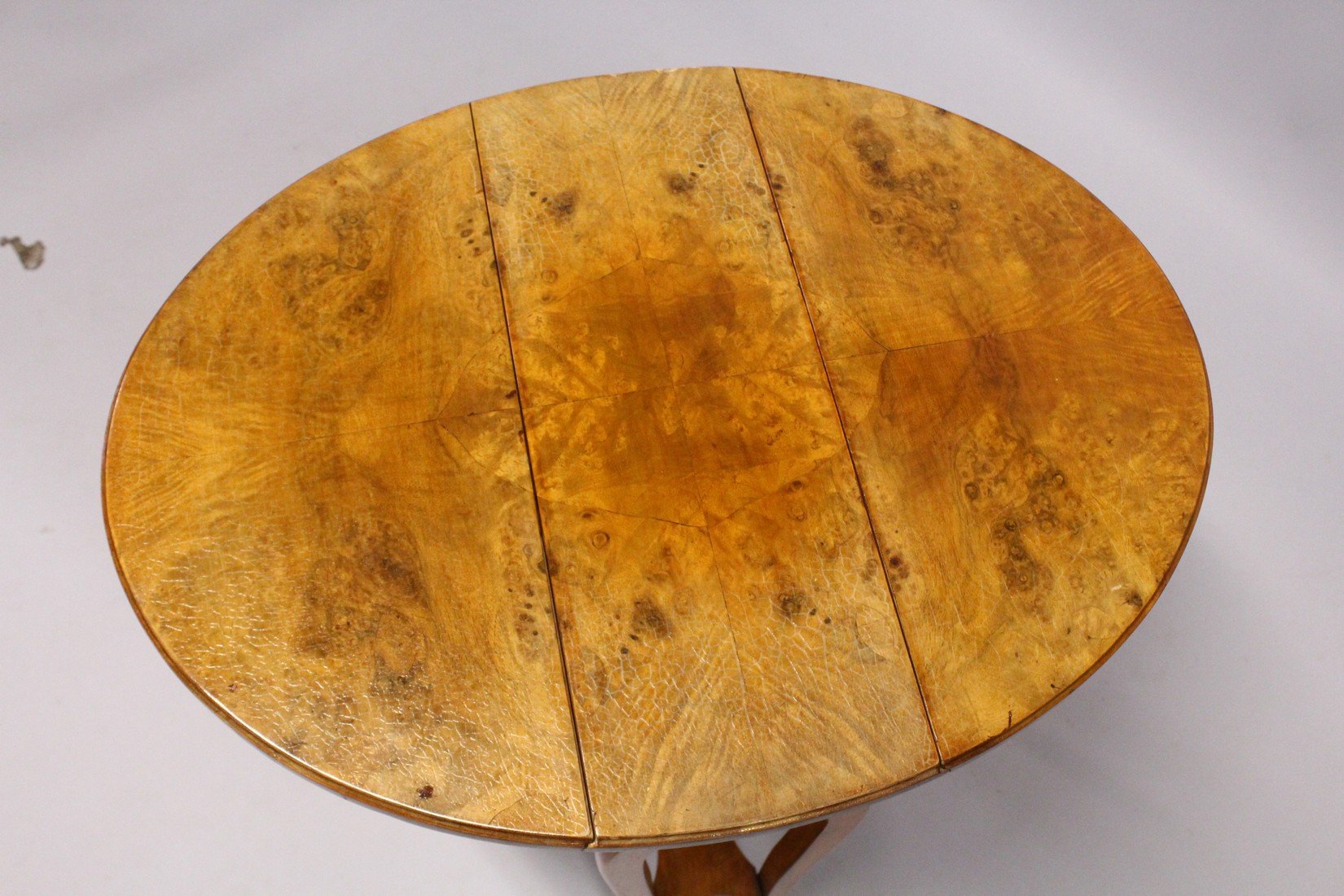 A POLLARD OAK OVAL DROP FLAP TABLE with undertier and curving legs. - Image 3 of 3