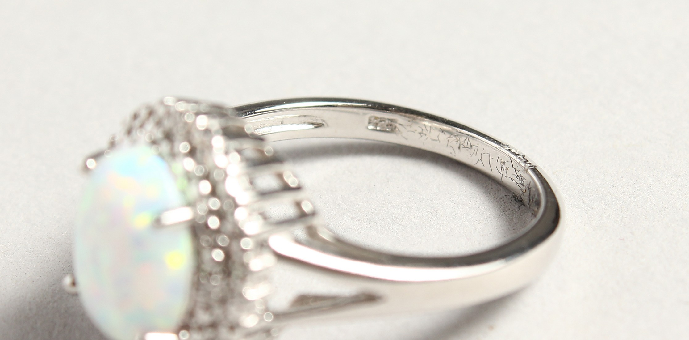 A SILVER OPALITE AND DIAMOND CLUSTER RING - Image 6 of 6