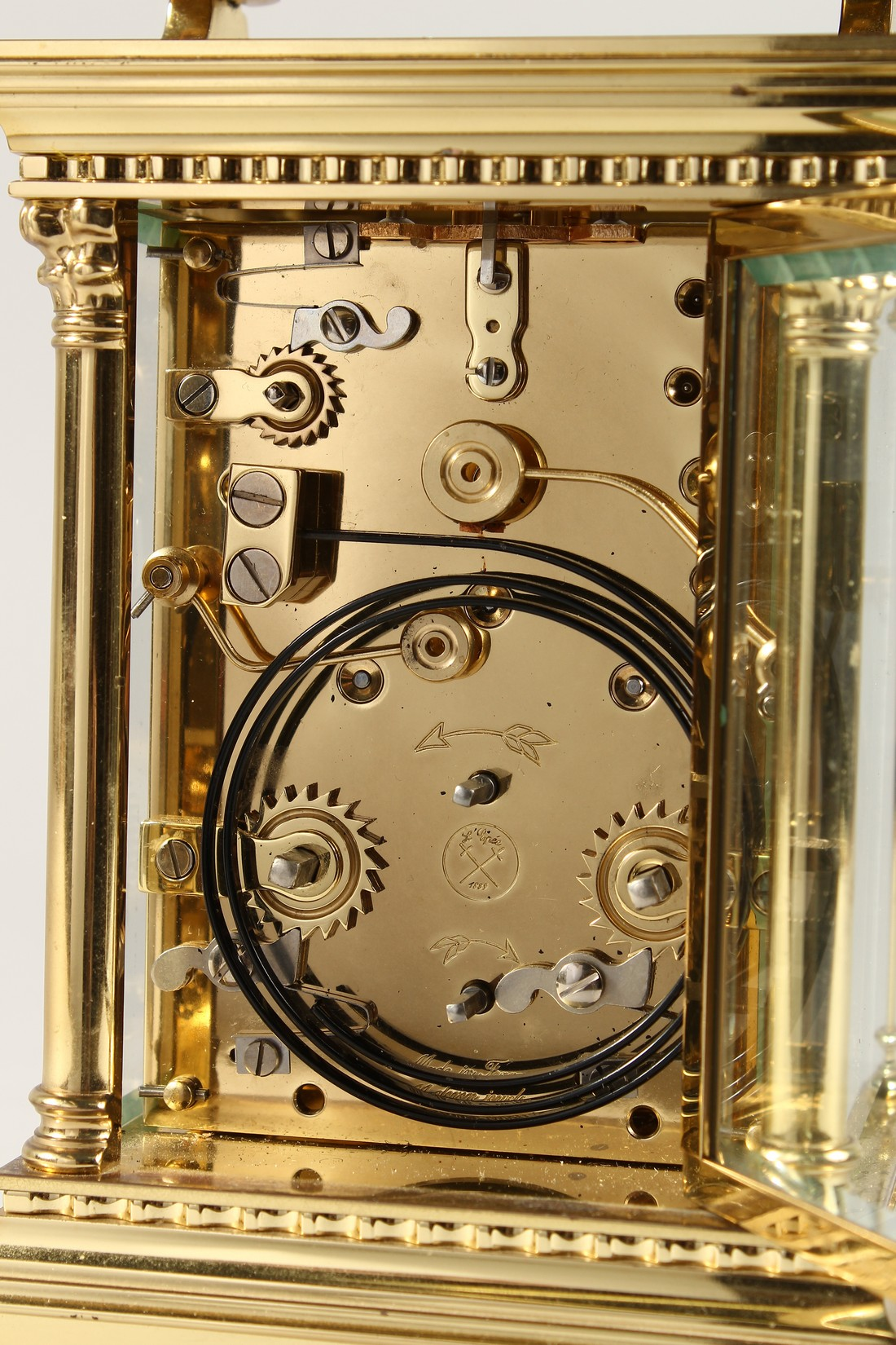 A GOOD ASPREYS BRASS CARRIAGE CLOCK with alarm. 6ins high. - Image 6 of 7