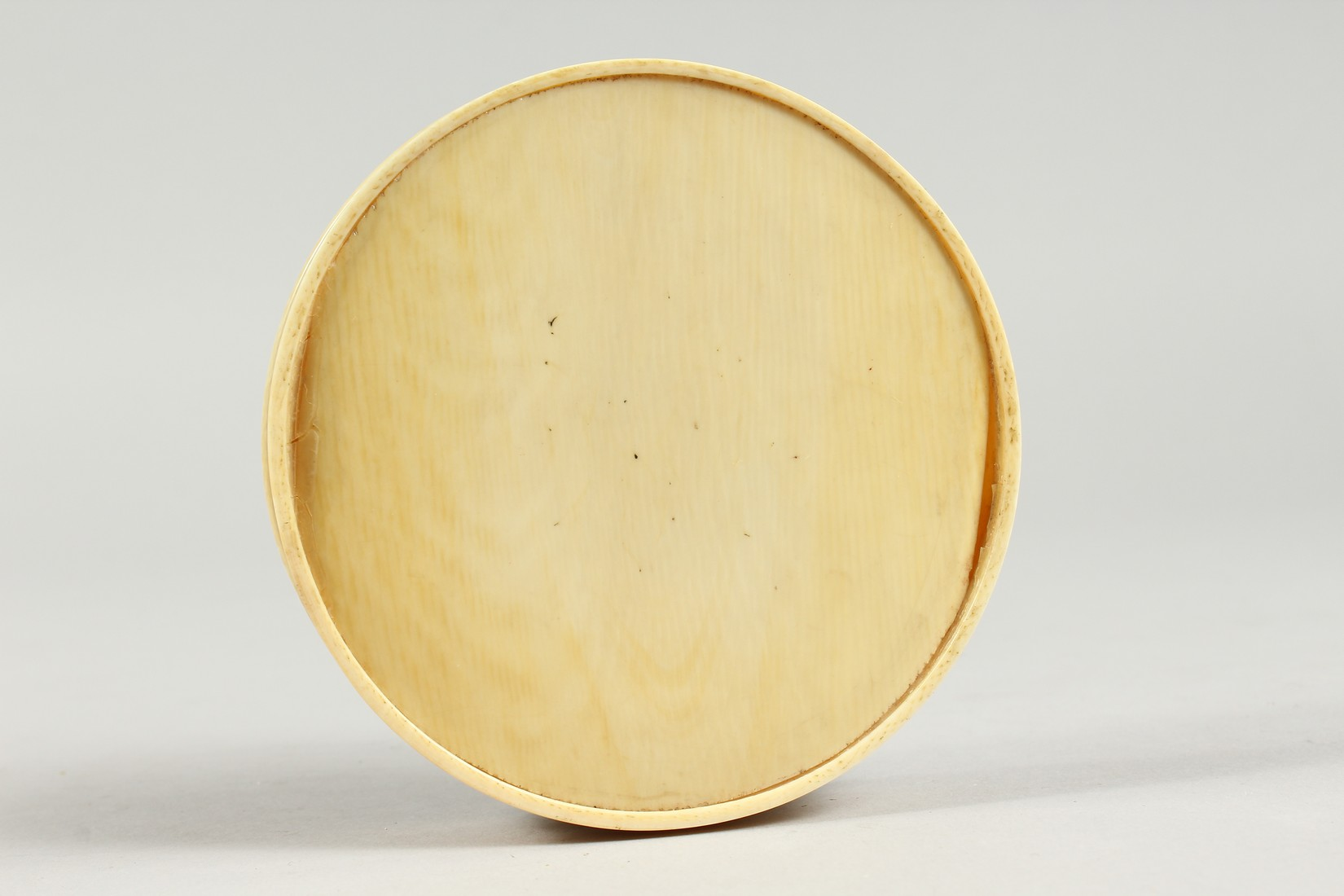 A GEORGIAN IVORY CIRCULAR BOX, the top painted with a portrait of Lady Mary Onslow. 3.75ins - Image 7 of 8