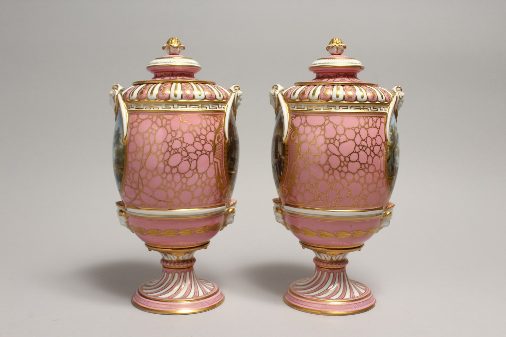 A VERY GOOD PAIR OF SEVRES PINK GROUND VASES AND COVERS each painted with reverse panels of figures, - Image 4 of 12