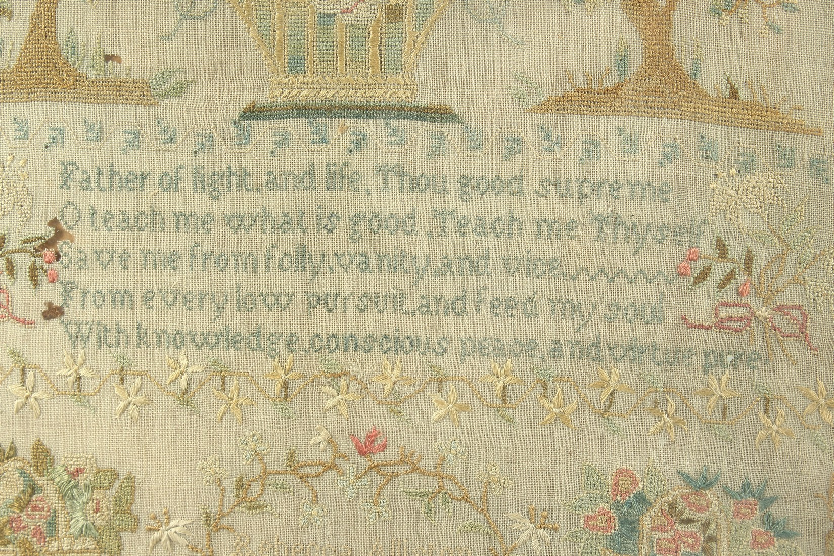 A GEORGE III FRAMED AND GLAZED SAMPLER by Roberta Allerton, 1787, with a poem, birds, flowers etc. - Image 3 of 7