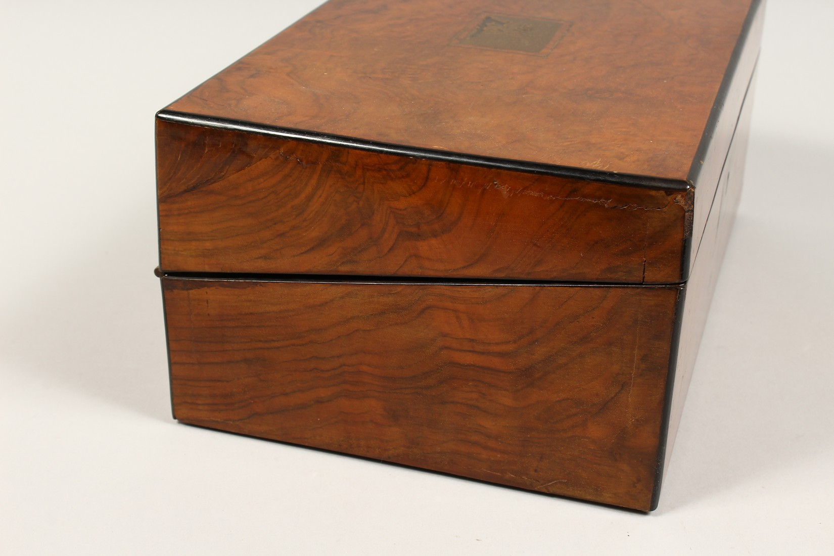 A VICTORIAN WALNUT FOLDING TABLE DESK with green velvet writing panel. 14ins long. - Image 2 of 8