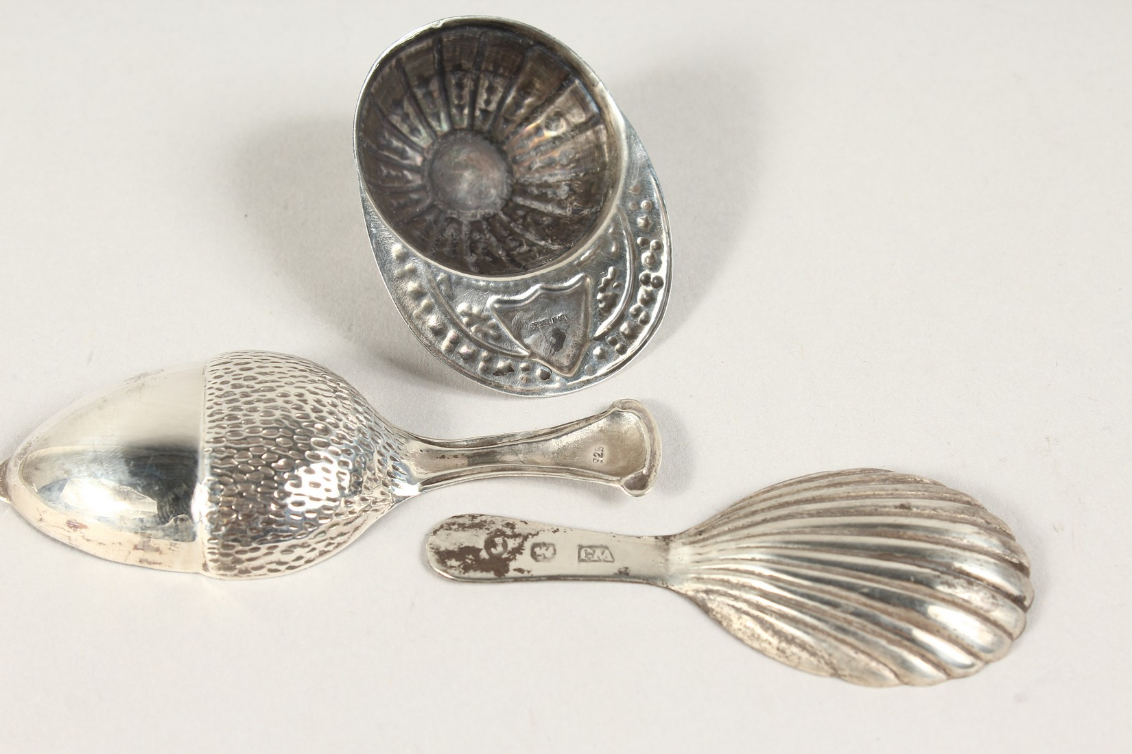 TWO SILVER CADDY SPOONS, JOCKEY CAP AND ACORN. - Image 2 of 2
