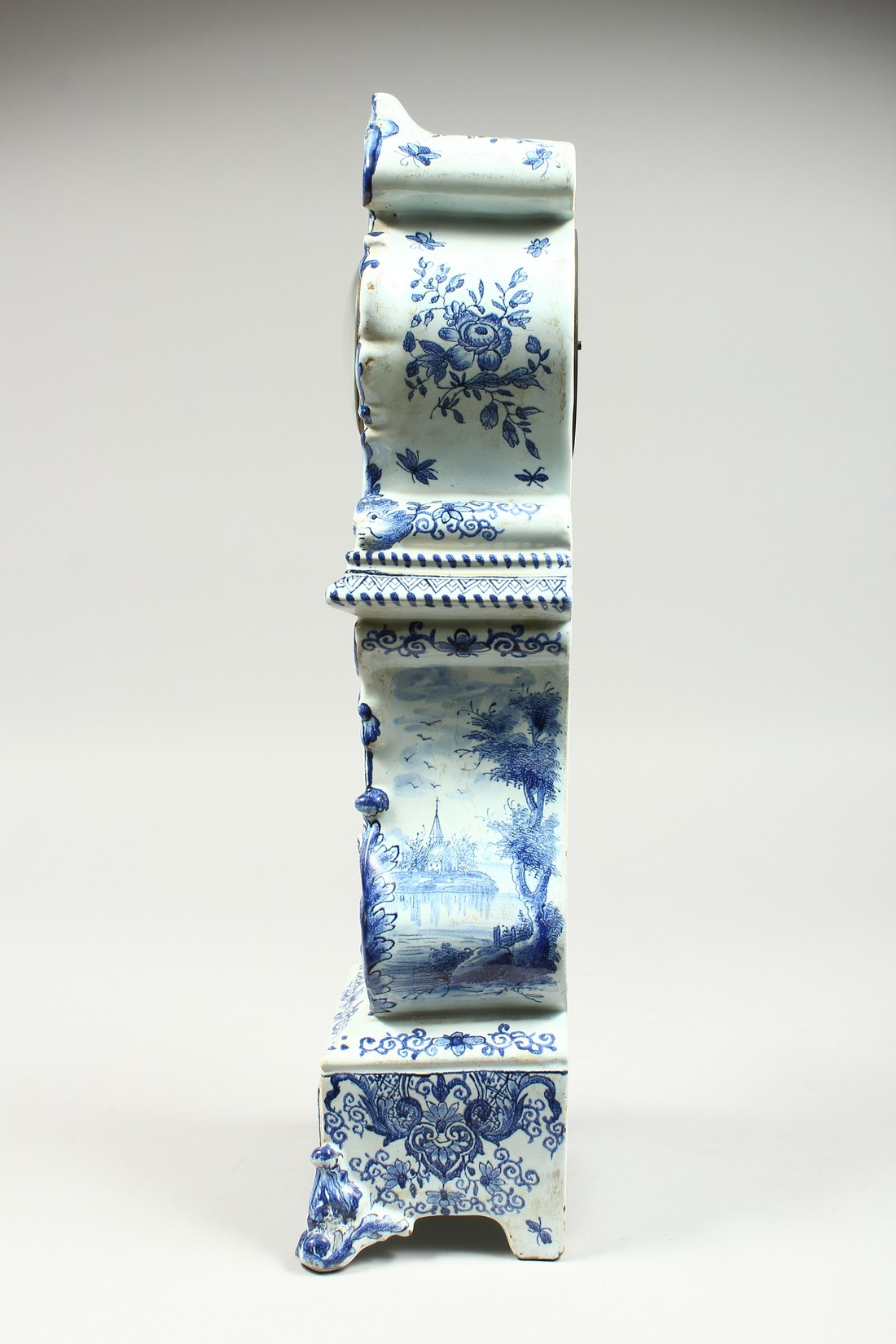 A 19TH CENTURY DUTCH BLUE AND WHITE MINIATURE PORCELAIN LONGCASE CLOCK, the movement by Charles - Image 3 of 8