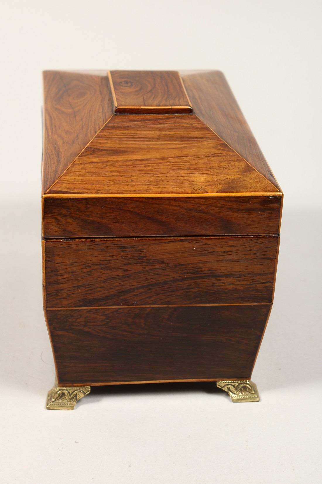 A REGENCY ROSEWOOD DOMED TOP TWO DIVISION TEA CADDY with iron escutcheon on brass bracket feet. 7. - Image 2 of 7