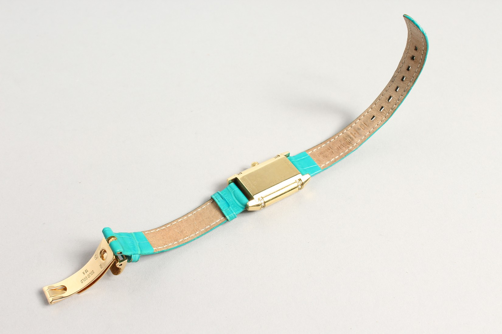 A VERY GOOD 18CT. GOLD AND DIAMOND JAGEUR LE COUTRE REVERSE WRISTWATCH, with a leather strap. - Image 3 of 8