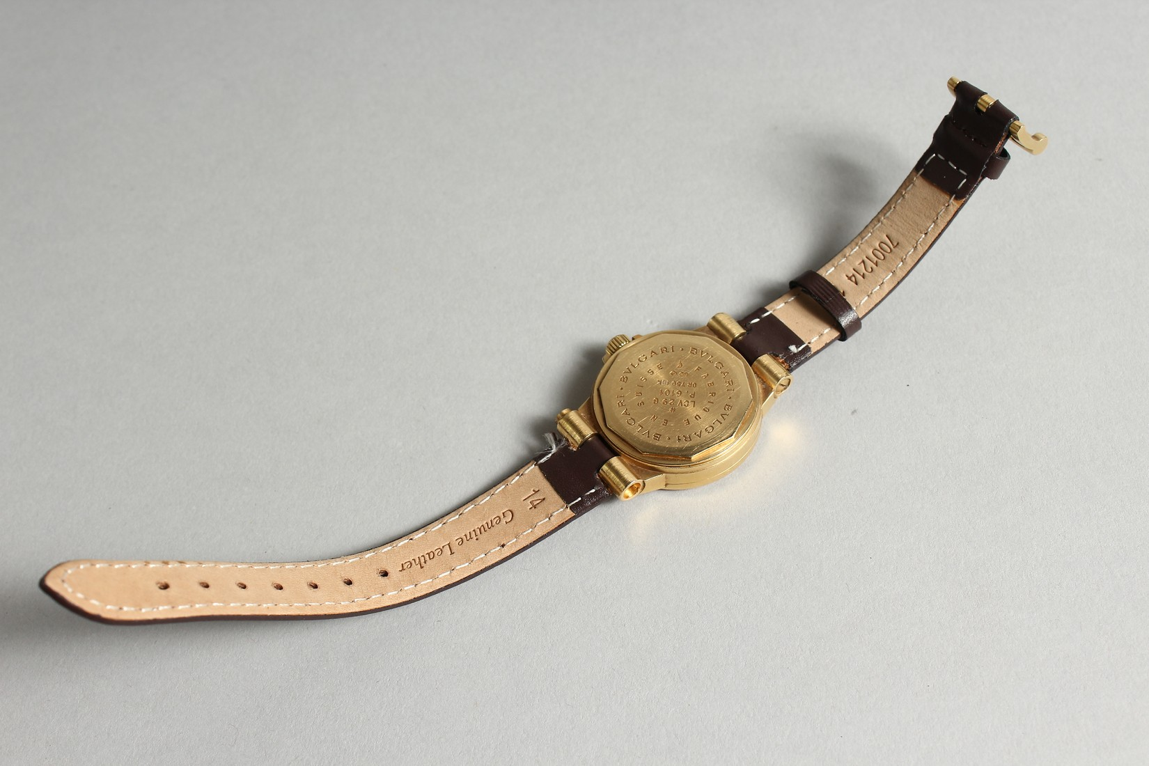 AN 18CT. GOLD BULGARI WRIST WATCH with leather strap, in original box. - Image 4 of 10