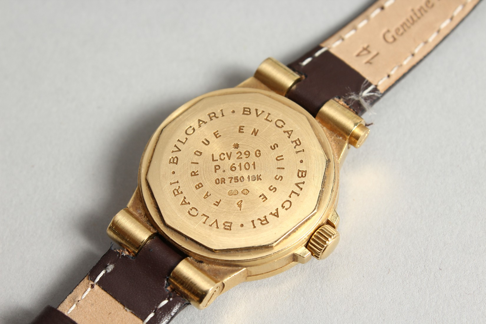 AN 18CT. GOLD BULGARI WRIST WATCH with leather strap, in original box. - Image 5 of 10