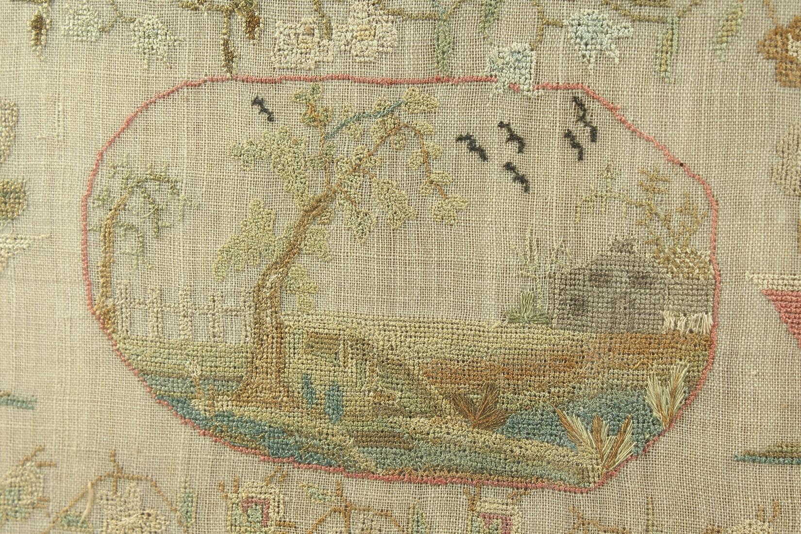 A GEORGE III FRAMED AND GLAZED SAMPLER by Roberta Allerton, 1787, with a poem, birds, flowers etc. - Image 6 of 7