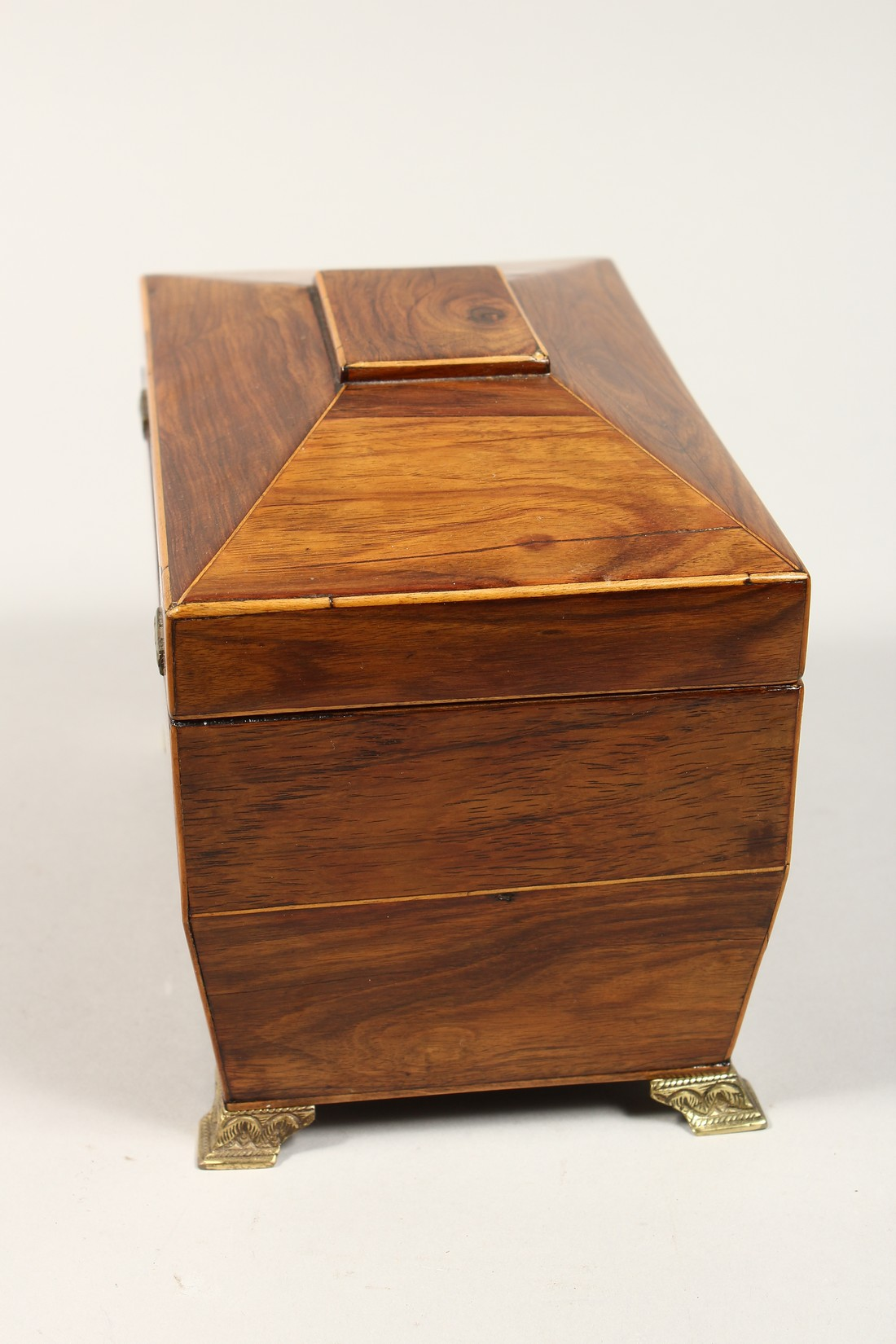 A REGENCY ROSEWOOD DOMED TOP TWO DIVISION TEA CADDY with iron escutcheon on brass bracket feet. 7. - Image 4 of 7