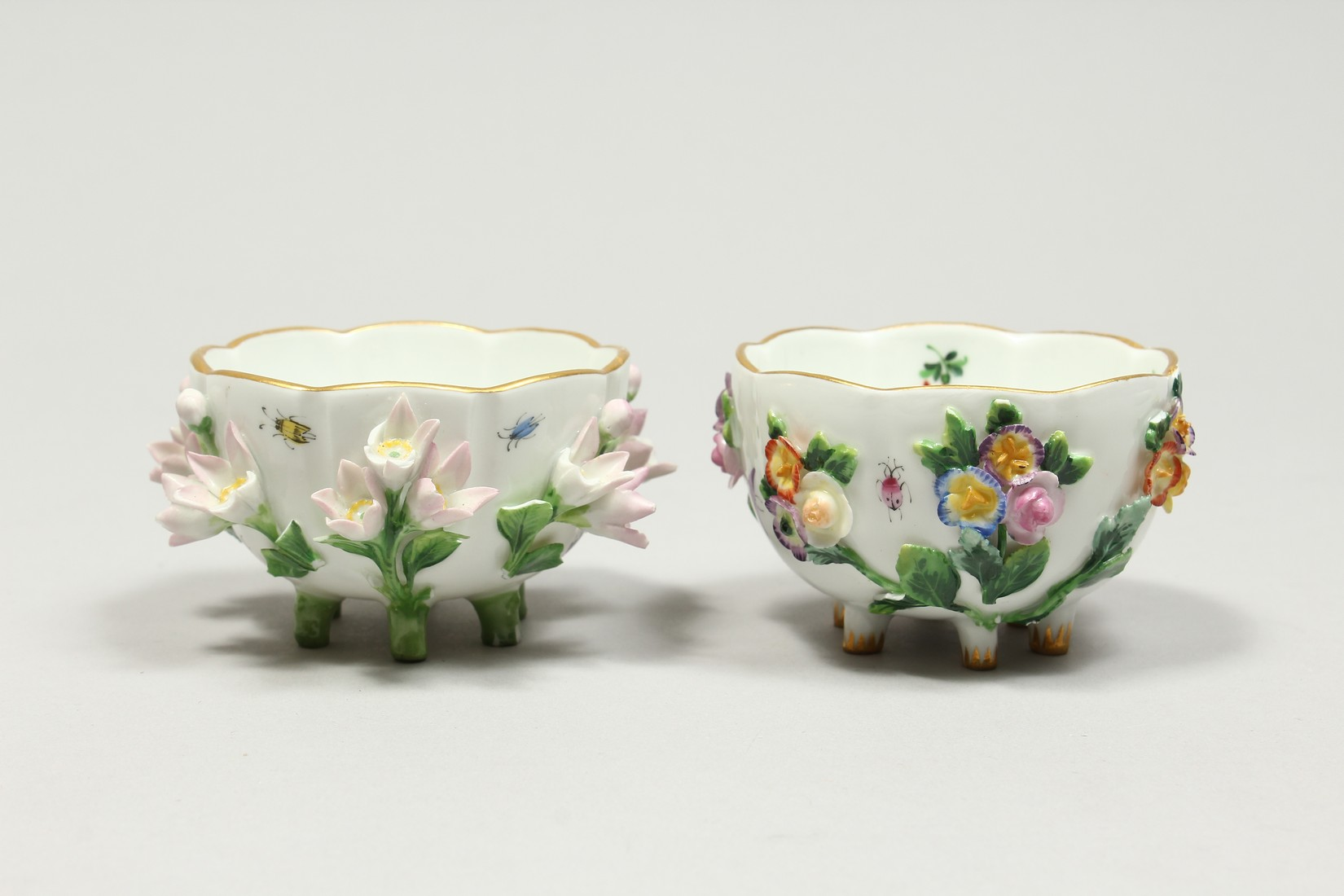 TWO MEISSEN PORCELAIN CUPS AND SAUCERS AND A SAUCER, encrusted with flowers and painted with - Image 3 of 16