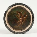 A GEORGIAN TORTOISESHELL CIRCULAR BOX with key pattern silver banding, the top painted with