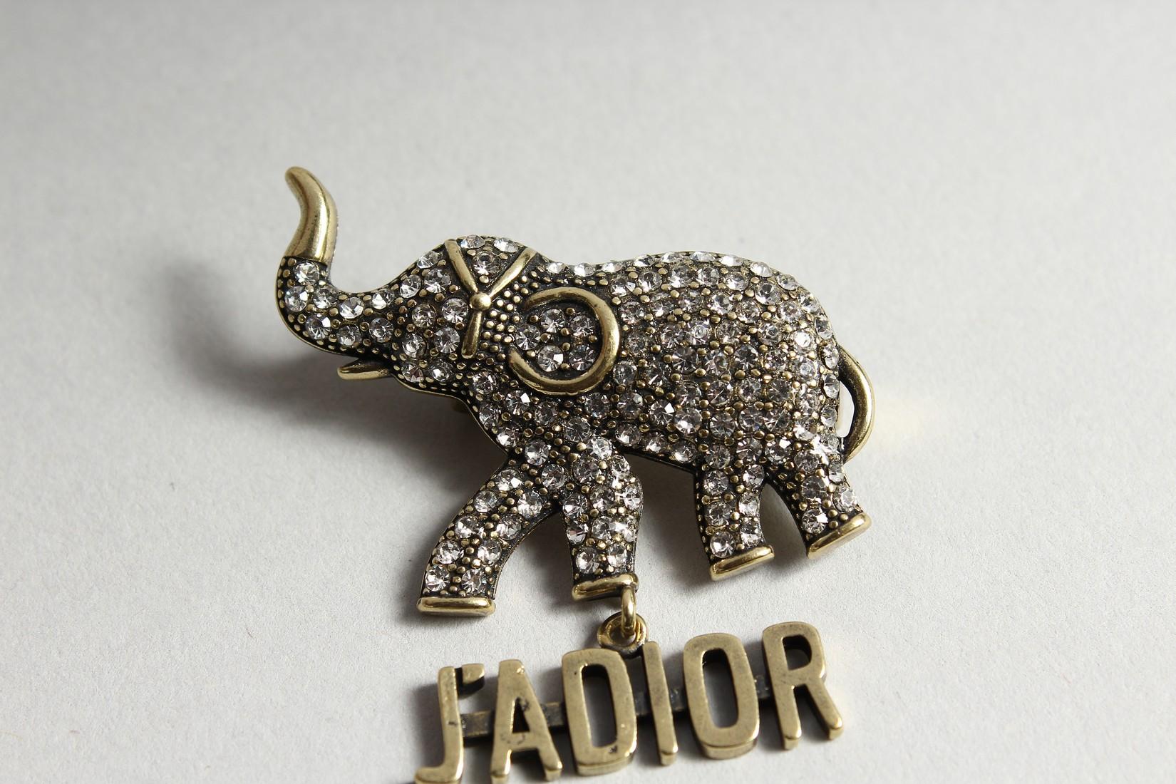 A DIOR JADIOR ELEPHANT BROOCH in a Dior bag and box. - Image 2 of 5